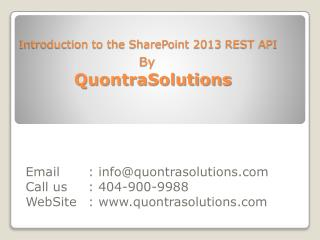 Introduction to the SharePoint 2013 REST API by Quontra