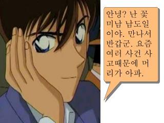 안녕 ?  난 꽃미남 남도일이야 .  만나서 반갑군 .  요즘 여러 사건 사고때문에 머리가 아파 .