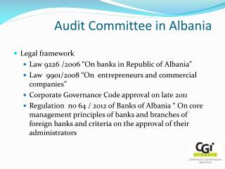 Audit Committee in Albania