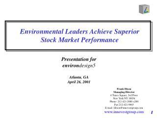 Environmental Leaders Achieve Superior  Stock Market Performance