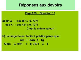 Réponses aux devoirs