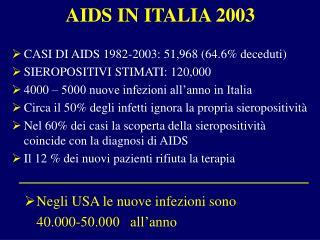 AIDS IN ITALIA 2003
