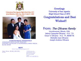 Greetings University of San Agustin High School Class of 1973  Congratulations and Best Wishes!!!