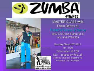 MASTER CLASS with Fabio Barros at FUSION Fitness & Dance 9660 Elk Grove Florin Rd, E