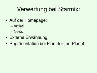 Verwertung bei Starmix: