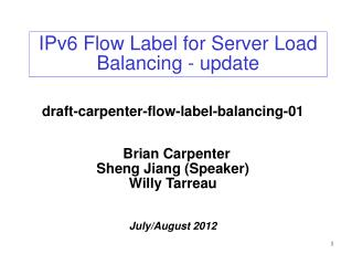 IPv6 Flow Label for Server Load Balancing - update