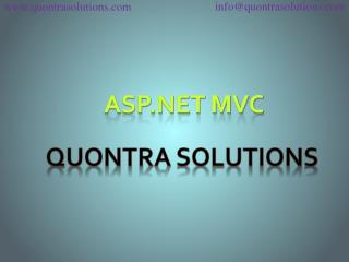 Asp dot net with mvc online training by quontra solutions