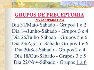 398998CALEND�RIO DE PRECEPTORIAS NA COOPERATIVA
