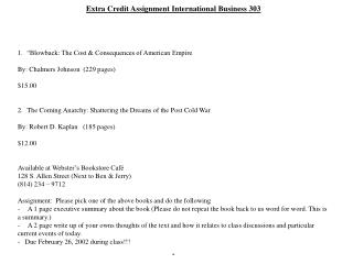 Extra Credit Assignment International Business 303