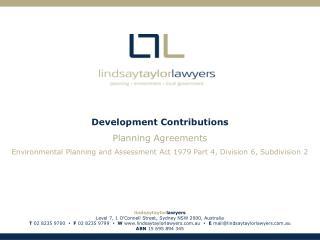 Development Contributions Planning Agreements