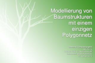 Modellierung von Baumstrukturen mit einem einzigen Polygonnetz Seminar Computergraphik WS 12/13