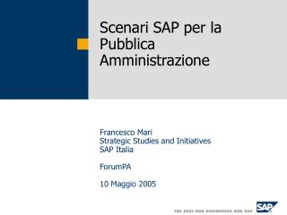 Scenari SAP per la Pubblica Amministrazione