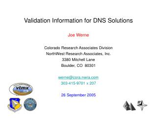 Validation Information for DNS Solutions