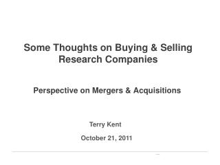 Some Thoughts on Buying & Selling Research Companies