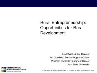Rural Entrepreneurship: Opportunities for Rural Development