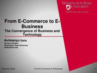 From E-Commerce to E-Business The Convergence of Business and Technology
