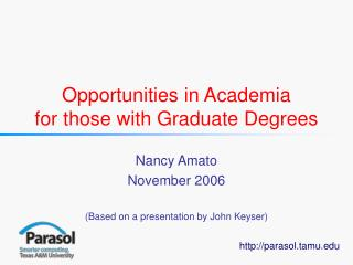 Opportunities in Academia for those with Graduate Degrees
