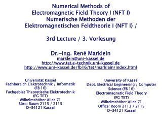 Universität Kassel Fachbereich Elektrotechnik / Informatik  (FB 16)