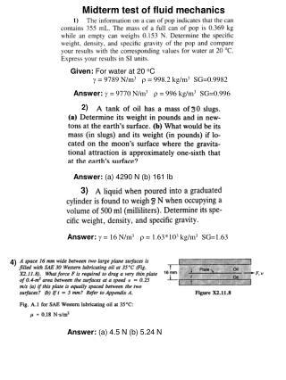 Midterm test of fluid mechanics