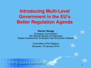 Introducing Multi-Level Government in the EU's  Better Regulation Agenda