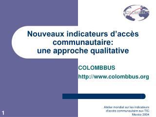 Nouveaux indicateurs d'accès communautaire:  une approche qualitative