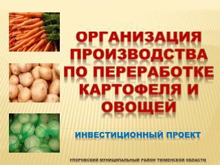 Инвестиционный проект Упоровский  муниципальный район Тюменской области