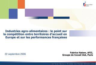 Fabrice Hatem, AFII, Groupe de travail IAA, Paris