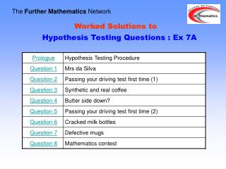 Worked Solutions to    Hypothesis Testing Questions : Ex 7A