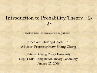 Introduction to Probability Theory   ‧ 2-2 ‧