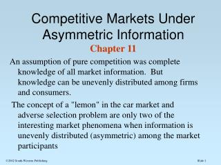 Competitive Markets Under Asymmetric Information