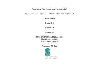 "Colegio de Bachilleres ""plantel 5 satélite"""