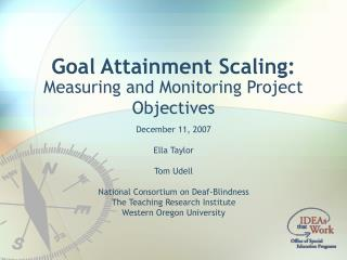 Goal Attainment Scaling:
