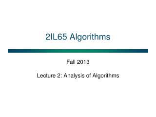 2IL65 Algorithms