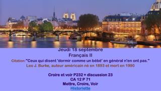 Jeudi  18  septembre Français  II