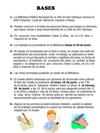 BASES 1.-  La Biblioteca Pública Municipal de La Villa de Don Fadrique convoca el