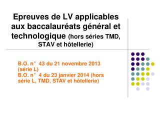 B.O. n°43 du 21 novembre 2013 (série L)