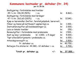 Kommunens kostnader pr. deltaker (ltr. 24) per 01.05.06