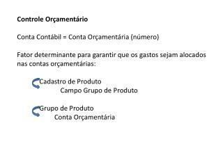 Controle Orçamentário Conta Contábil = Conta Orçamentária (número)
