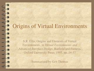 Origins of Virtual Environments