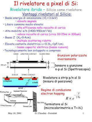 Il rivelatore a pixel di Si: Rivelatore ibrido –  Silicio come rivelatore