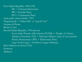 First Italian Republic, 1946-1992 	DC = Christian Democrats 	PSI = Socialist Party