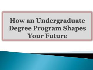 How an Undergraduate Degree Program Shapes Your Future