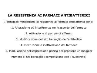 Emergenza delle resistenze agli agenti antimicrobici