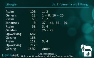 Liturgie ds. E. Venema uit Tilburg