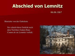 Abschied von Lemnitz 06.06.1867