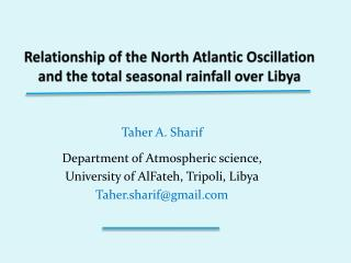 Relationship of the North Atlantic Oscillation and the total seasonal rainfall over Libya