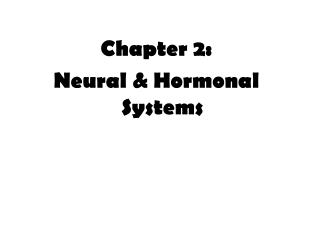 Chapter 2:  Neural & Hormonal Systems