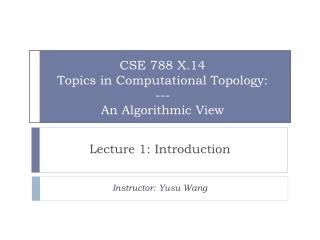 CSE 788 X.14 Topics in Computational Topology:  --- An Algorithmic View