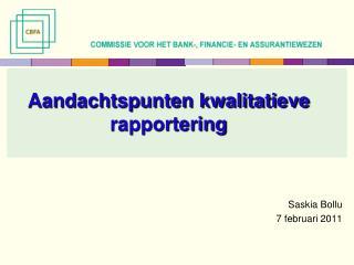 Aandachtspunten kwalitatieve rapportering
