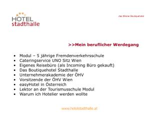 Modul – 5 jährige Fremdenverkehrsschule Cateringservice UNO Sitz Wien